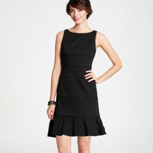 ANN TAYLOR • TIERED RUFFLE HEM LITTLE BLACK DRESS